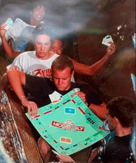 Playing Monopoly on a roller coaster